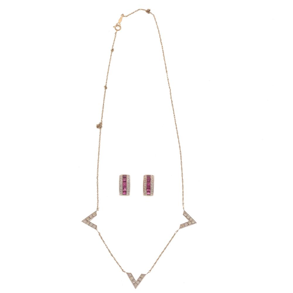 Lot 119: Ruby & Diamond Hoops and Diamond Necklace