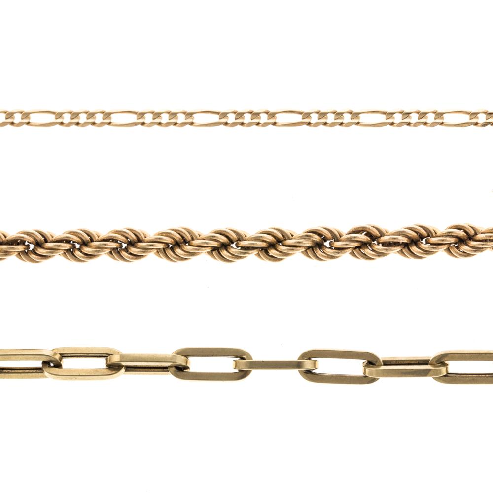 A Pair of Chain Bracelets & Anklet Gold