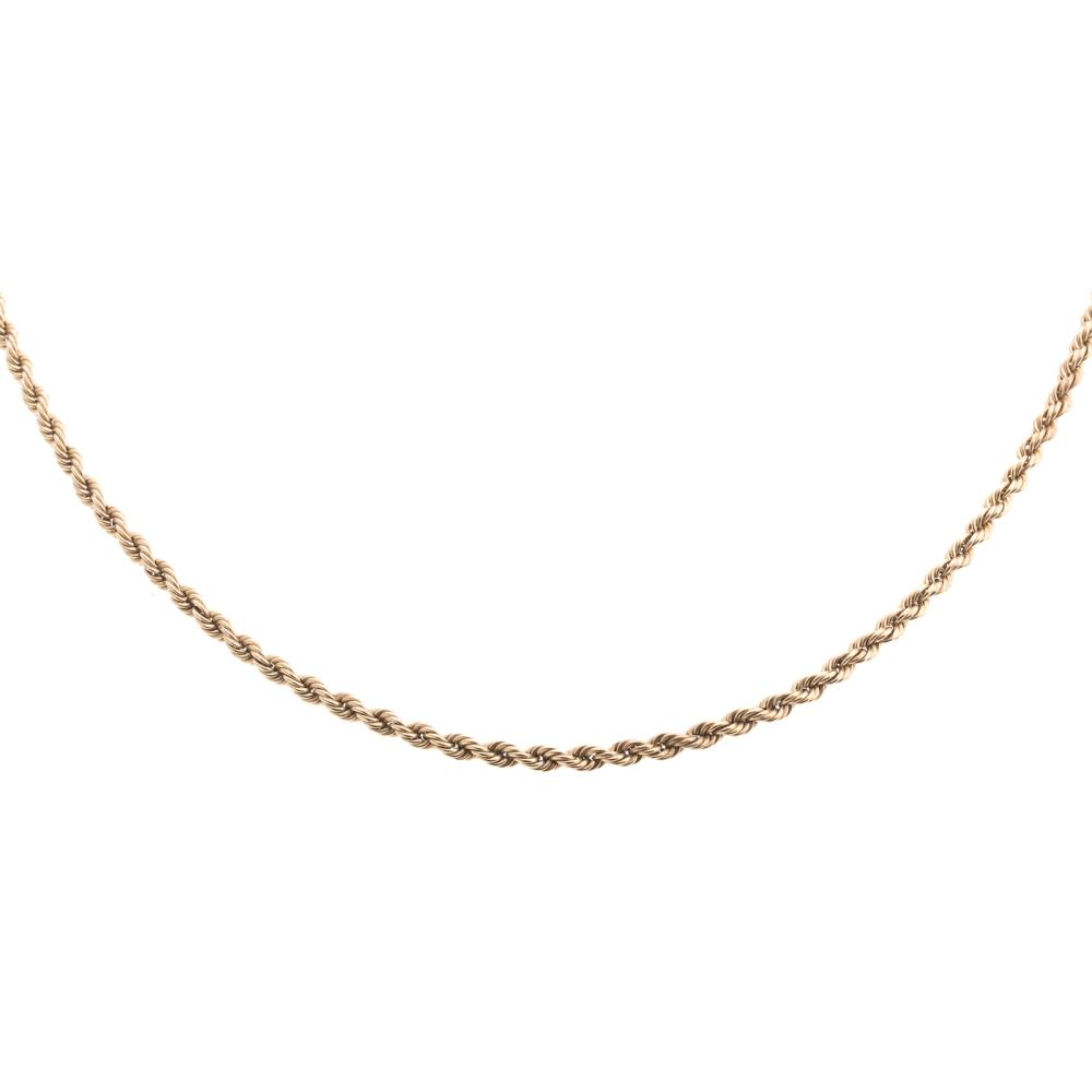 A Ladies Long Rope Chain in 14K Gold