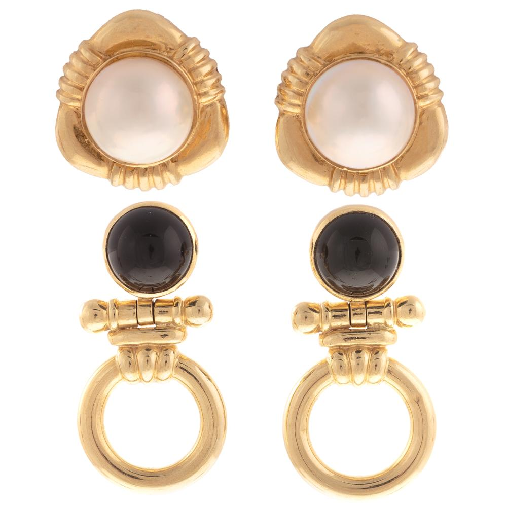 A Pair of Black Onyx Earrings & Mabe Pearl Earring