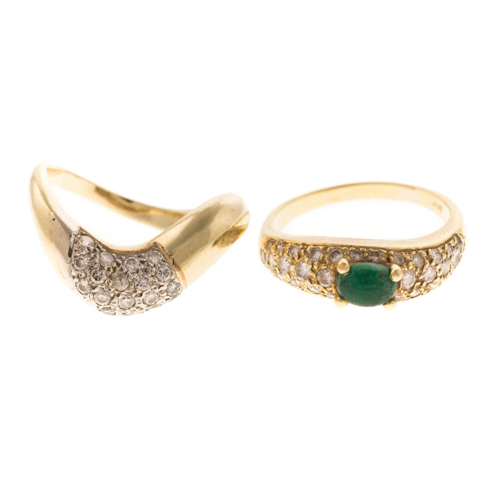 Pair of Diamond & Emerald Freeform Bands in Gold