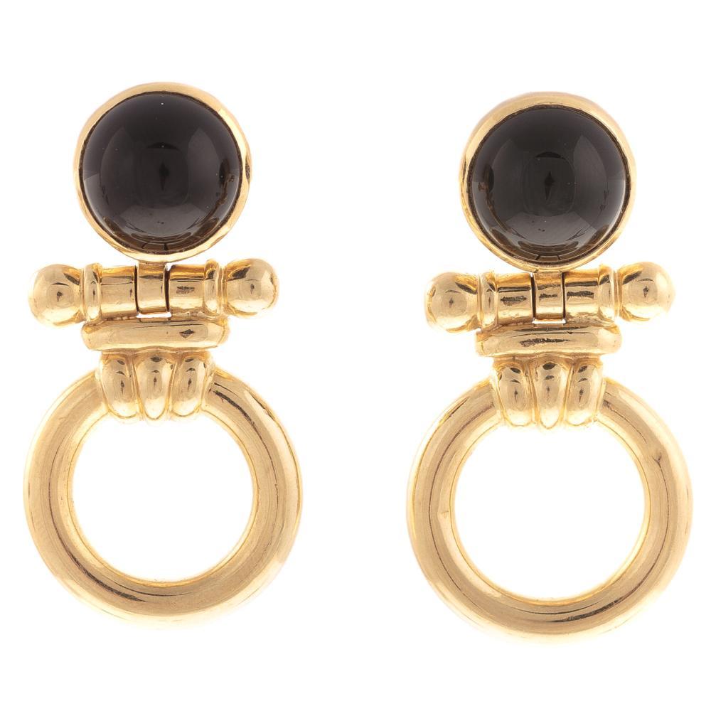 Lot 123: A Pair of Black Onyx Earrings & Mabe Pearl Earring