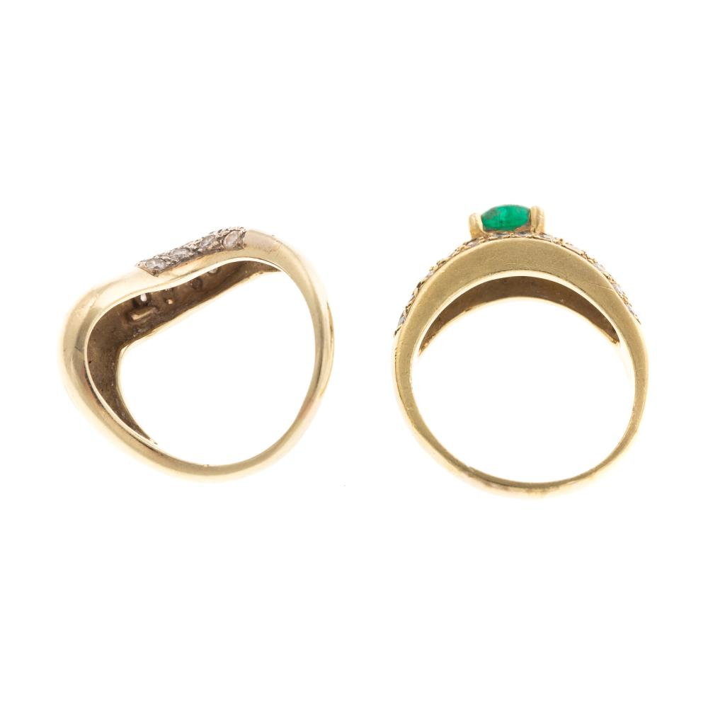 Lot 125: Pair of Diamond & Emerald Freeform Bands in Gold