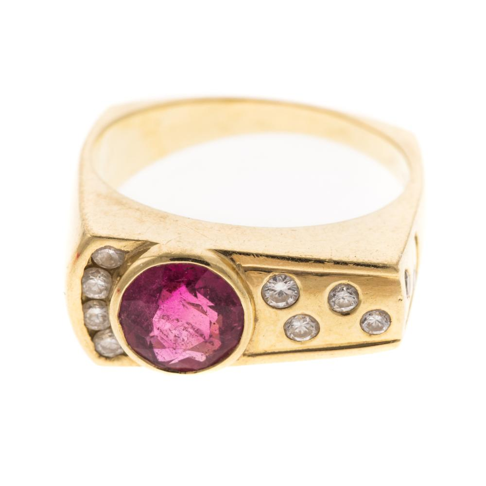 A Rubellite Tourmaline & Diamond Ring in 18K