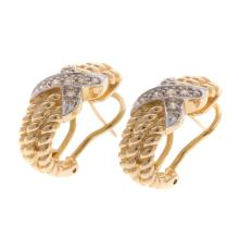 Lot 132: Two Pairs of Ladies 14K Earrings with Omega Backs