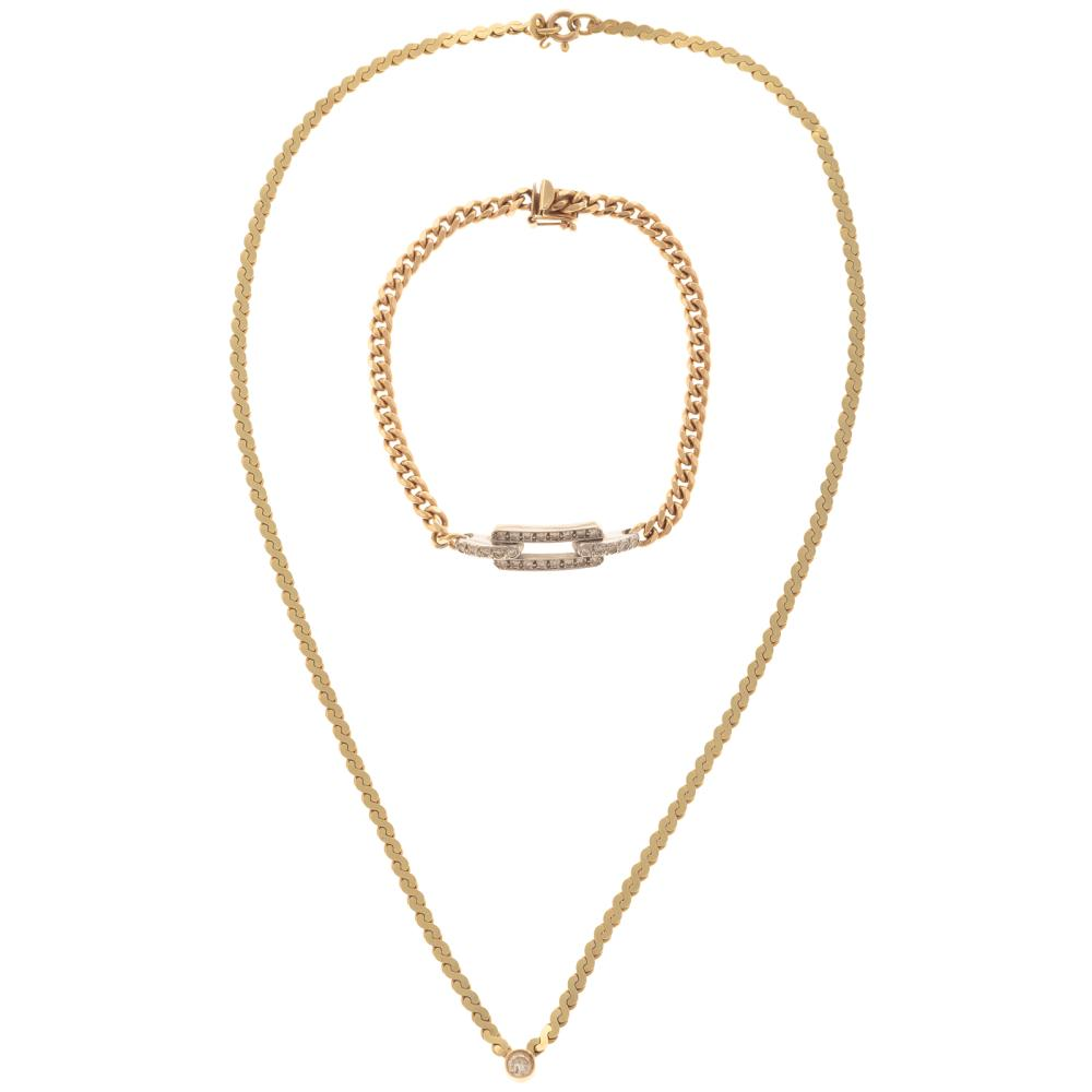 A Ladies Diamond Link Bracelet and Pendant in 14K