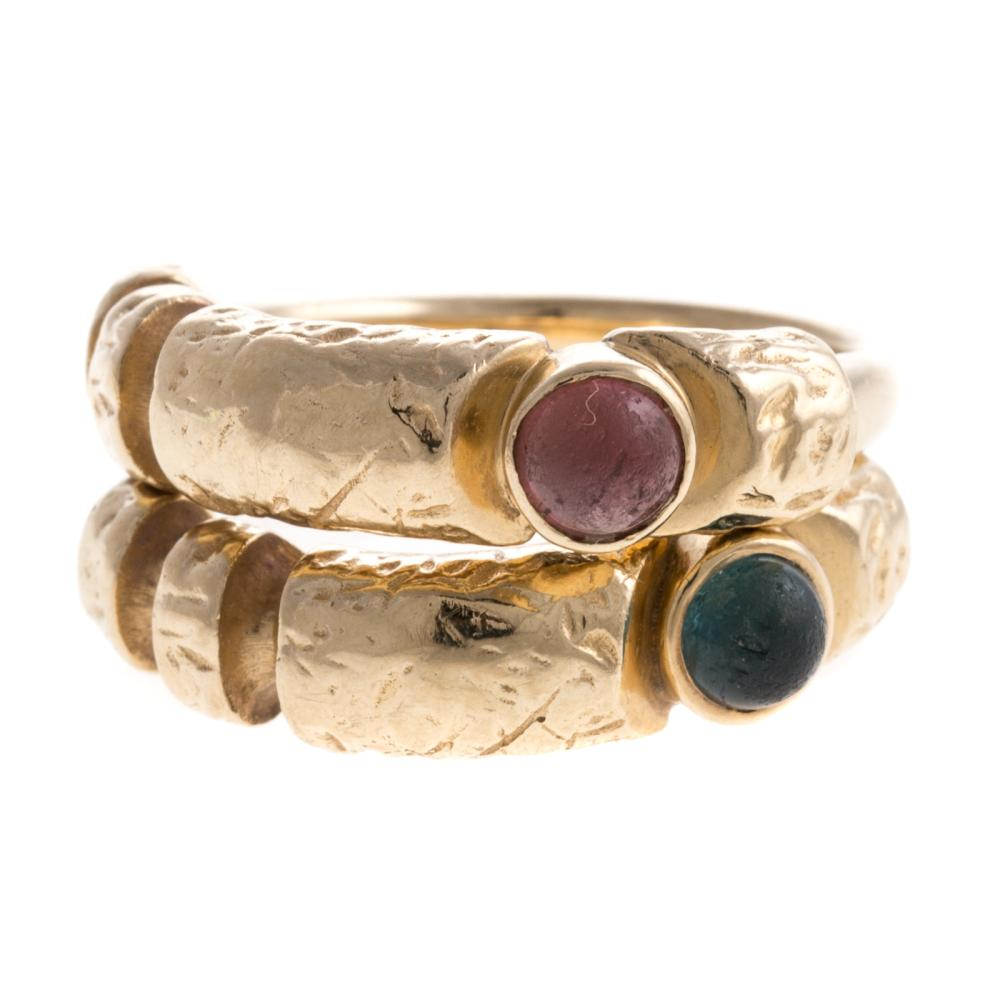 A Pair of Matched 14K Rings with Tourmalines