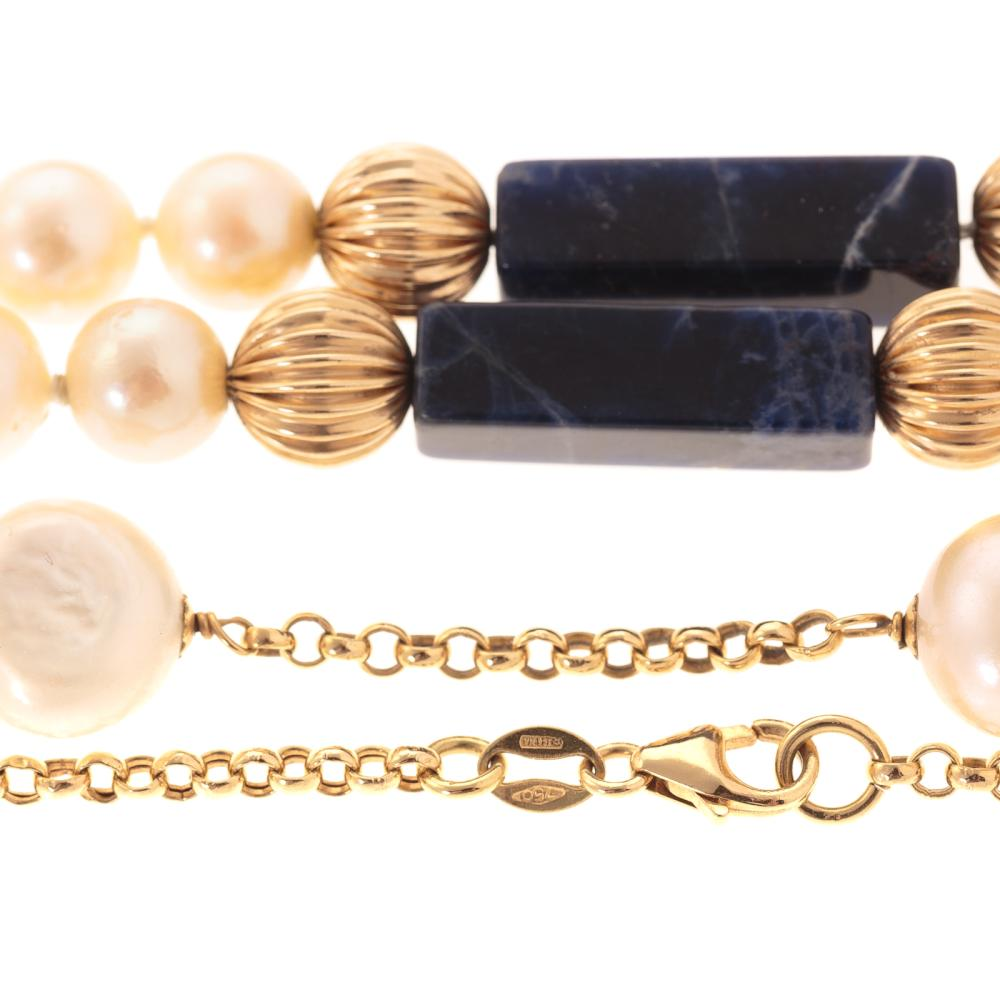 Lot 136: Two Ladies Necklaces Featuring Pearls in 18K & 14K
