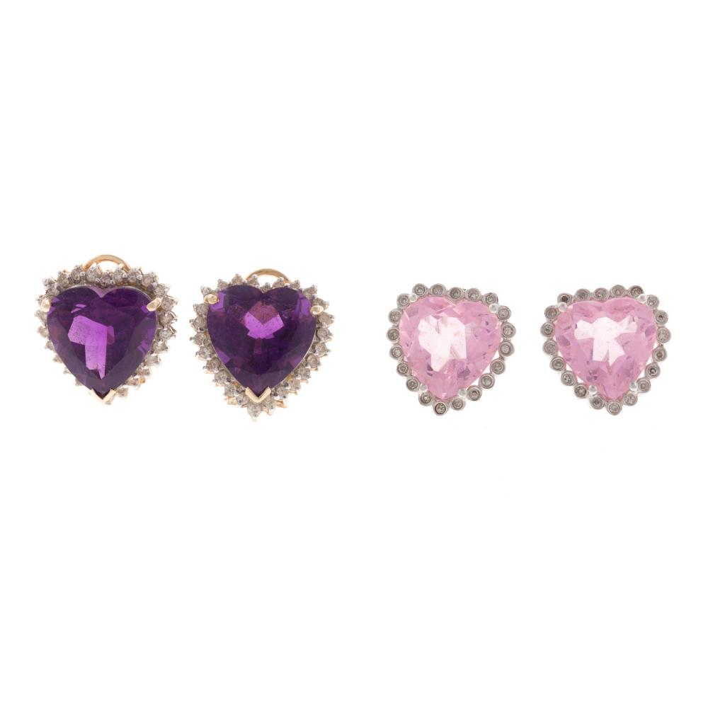 Two Pairs of Heart Gemstone & Diamond Earrings