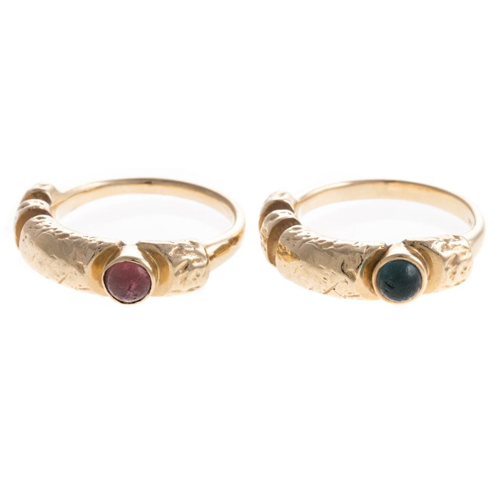 Lot 138: A Pair of Matched 14K Rings with Tourmalines