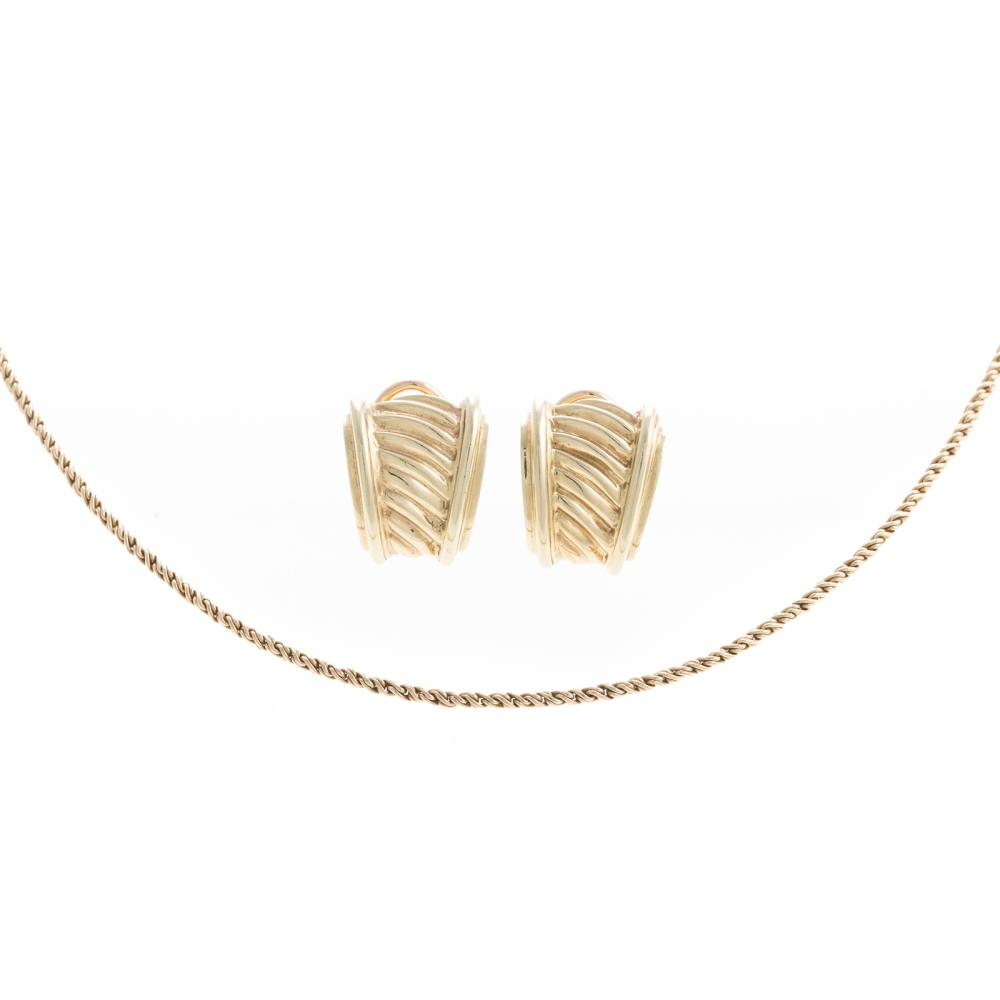A Pair of Ladies Gold Earrings and Chain in 14K