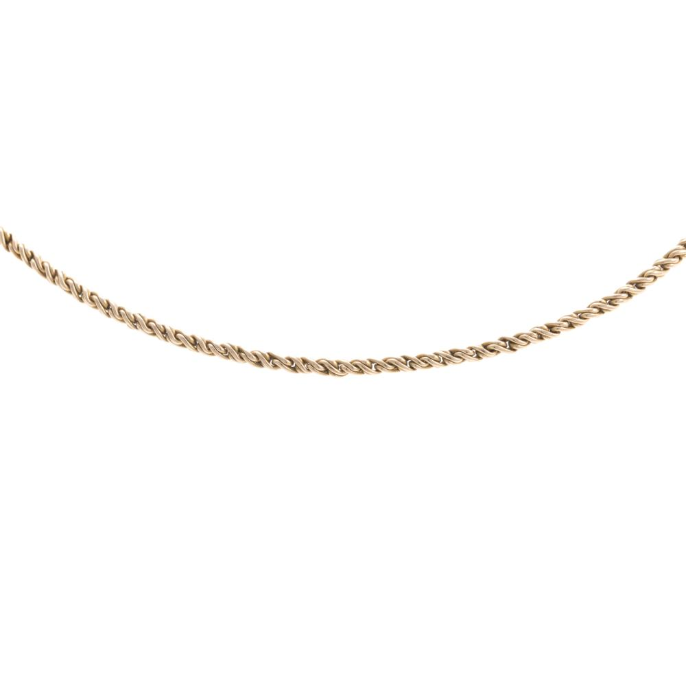 Lot 140: A Pair of Ladies Gold Earrings and Chain in 14K