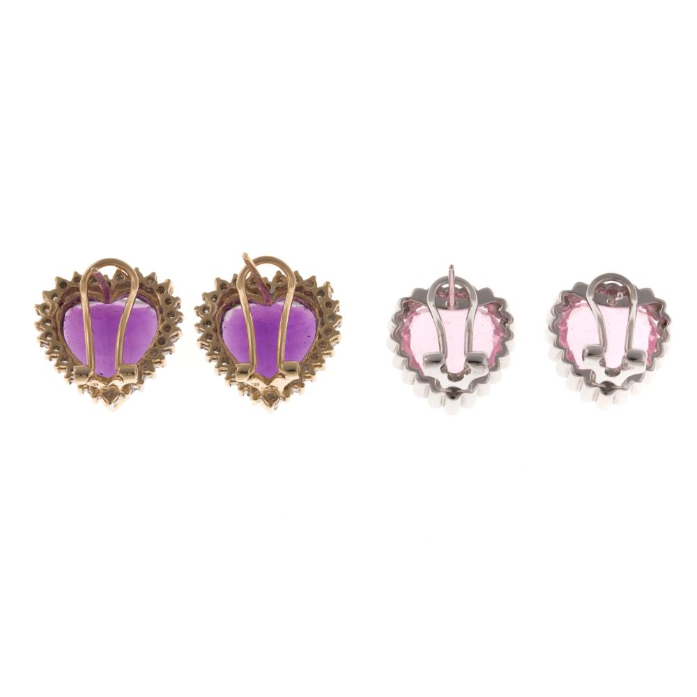 Lot 139: Two Pairs of Heart Gemstone & Diamond Earrings