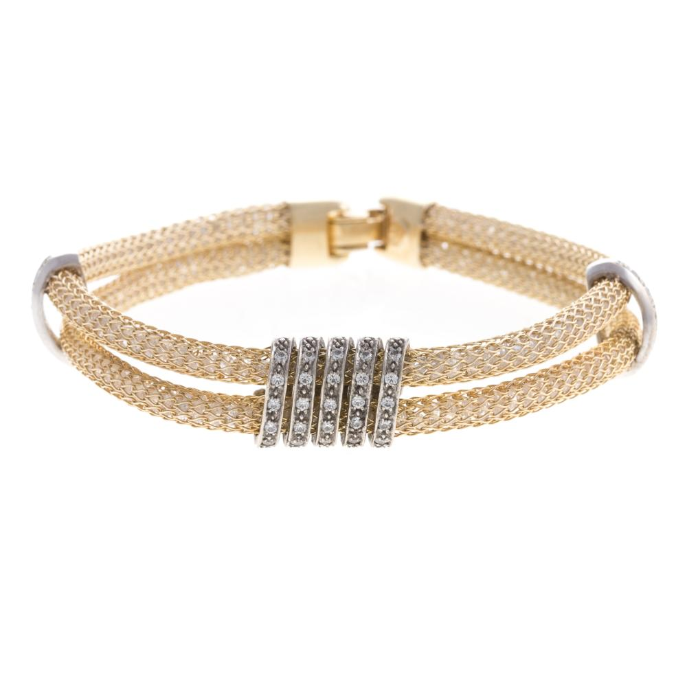 A Ladies Double Row Mesh & Diamond Bracelet in 14K