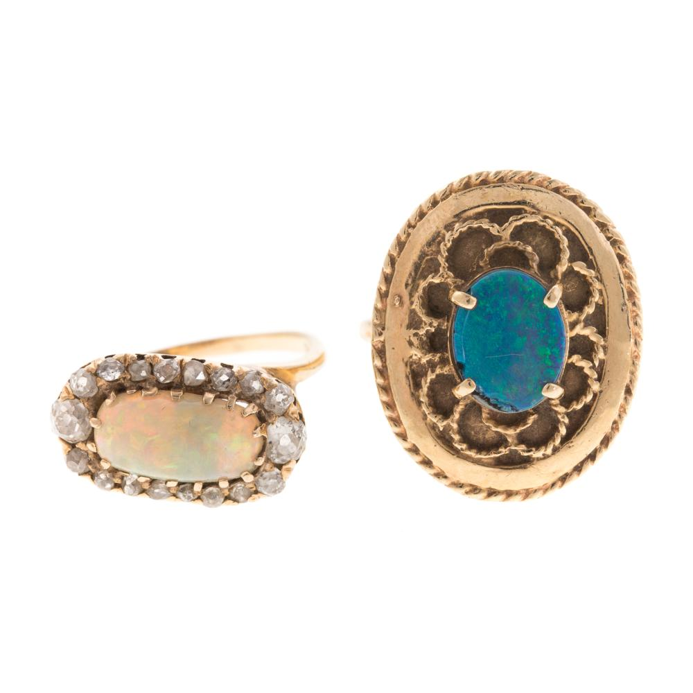 A Pair of Ladies Opal Rings in 14K