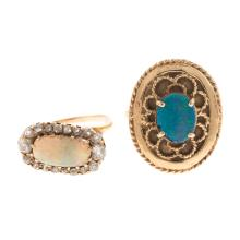 Lot 143: A Pair of Ladies Opal Rings in 14K