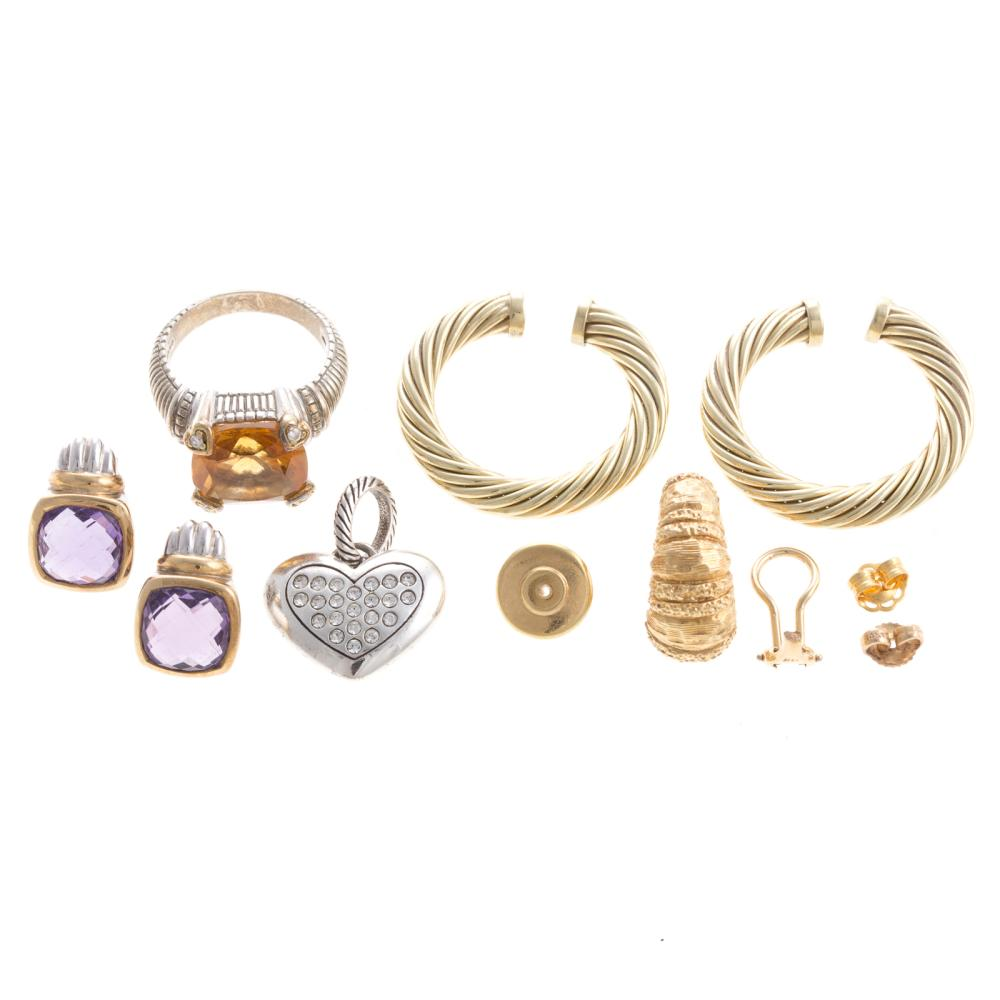 A Collection of Ladies Silver and Gold Jewelry