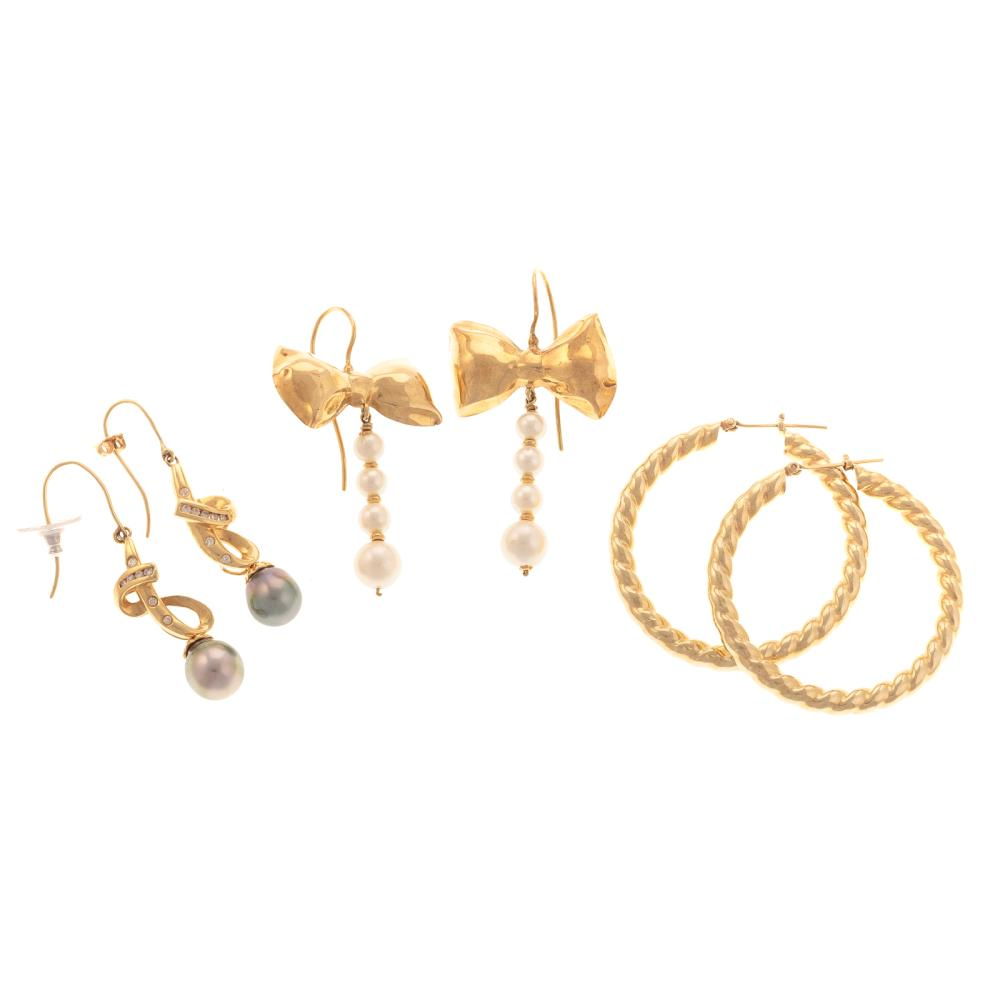 A Trio of Ladies Gold & Pearl Earrings in Gold