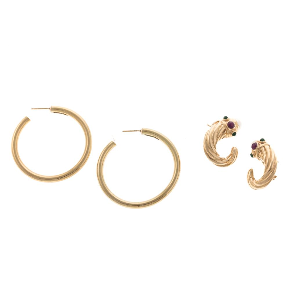 Two Pair of Ladies Earrings in 14K Gold