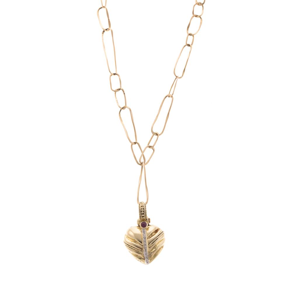 Lot 146: A Open Link Necklace with Heart Pendant in 14K