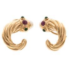 Lot 147: Two Pair of Ladies Earrings in 14K Gold