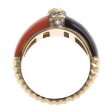 Lot 149: A Pair of Contemporary Gemstone Rings in 14K