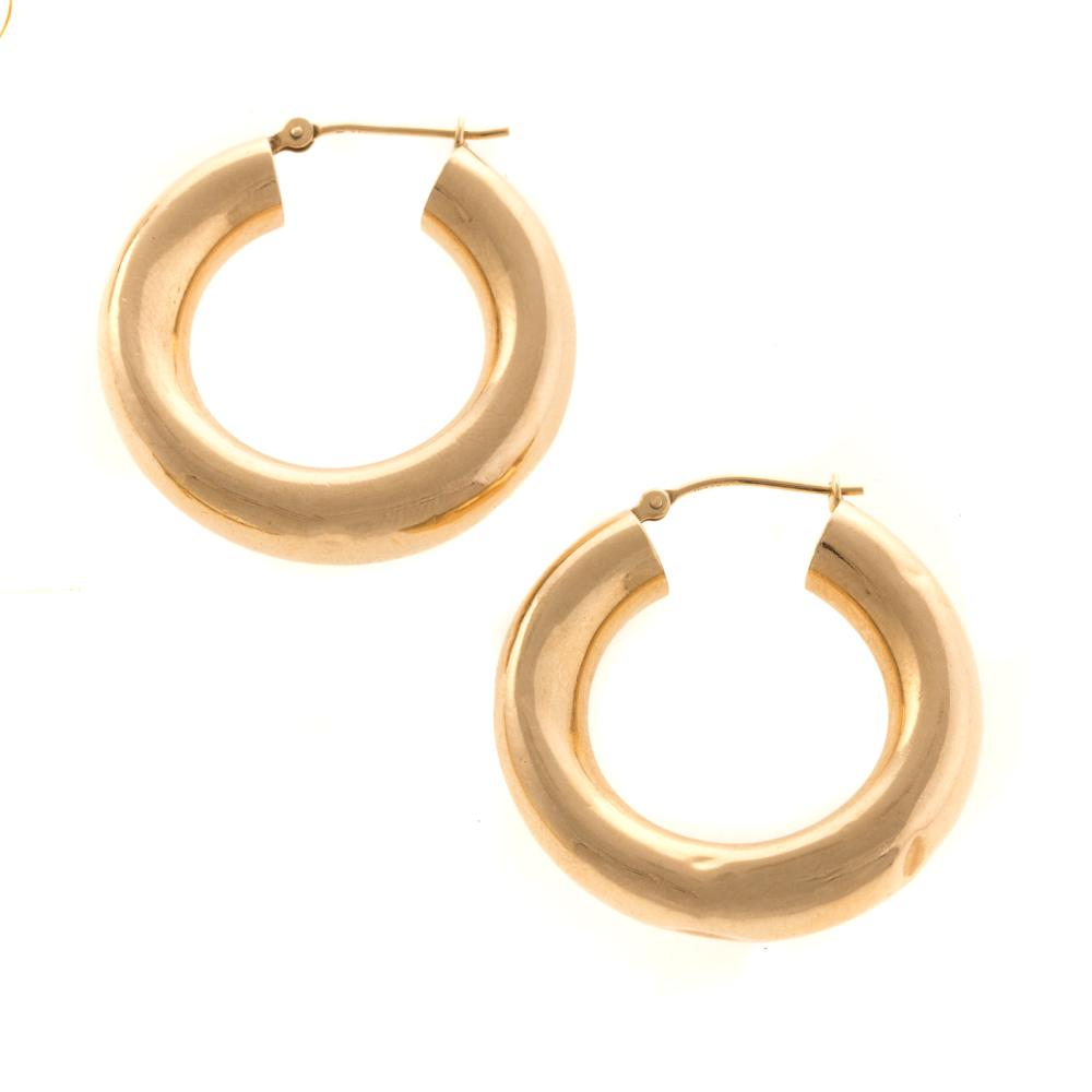 Lot 151: Two Pairs of Gold Hoops and Mabe Pearl Earrings