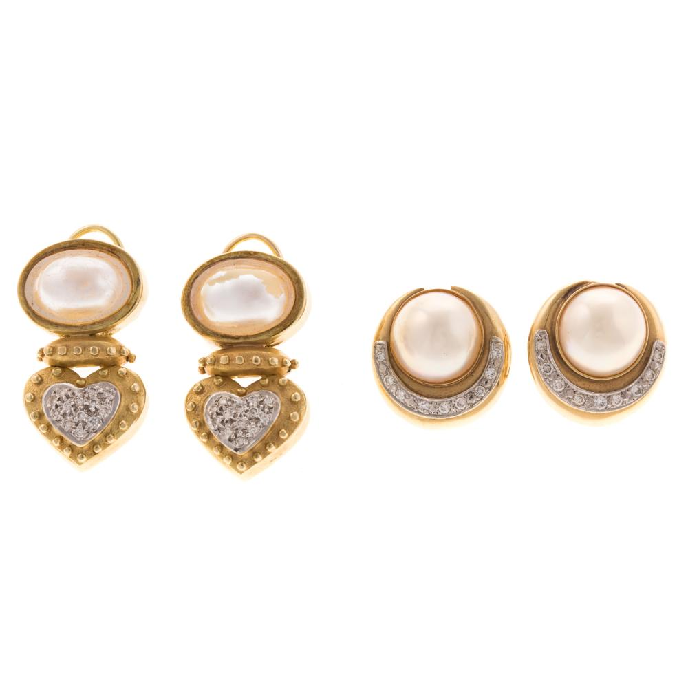 Two Pairs of 14K Pearl and Diamond Earrings