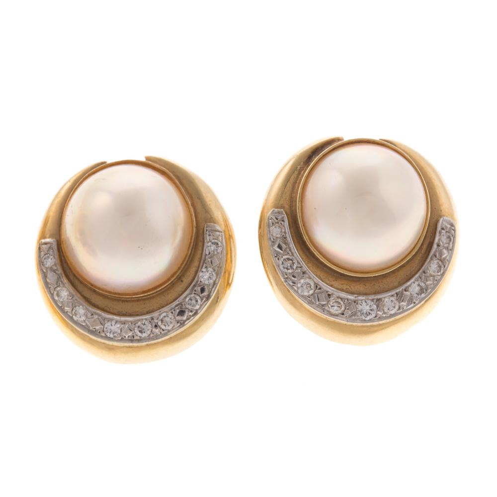 Lot 153: Two Pairs of 14K Pearl and Diamond Earrings