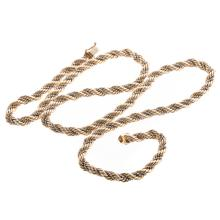 Lot 152: A Ladies 14K Two Toned Rope Chain Necklace