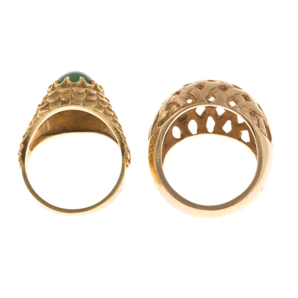 Lot 155: A Dome Ring in 14K & an Aventurine Ring in 18K