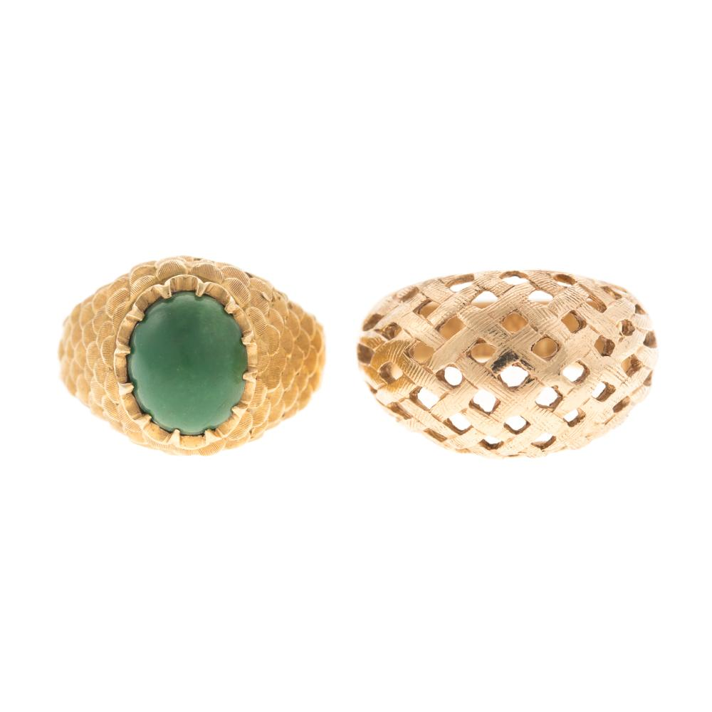 A Dome Ring in 14K & an Aventurine Ring in 18K