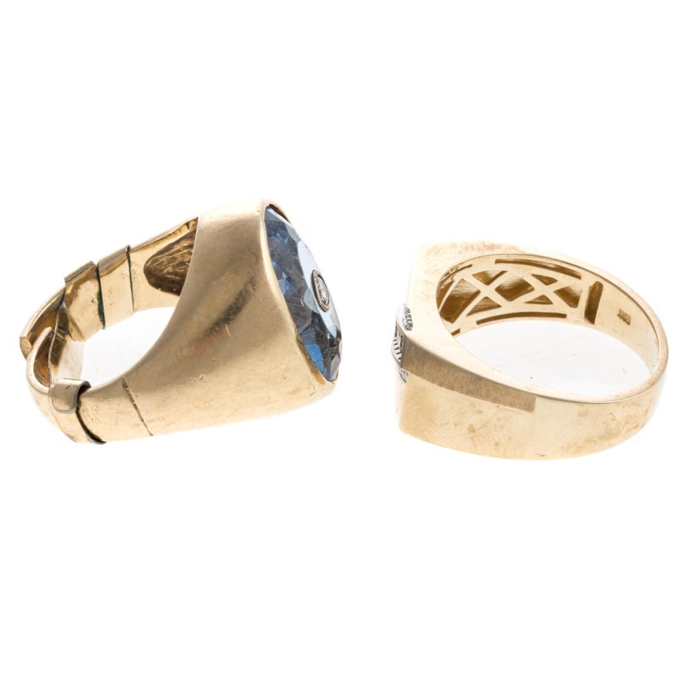 Lot 158: Two Gentlemen's Rings with Diamonds in Gold