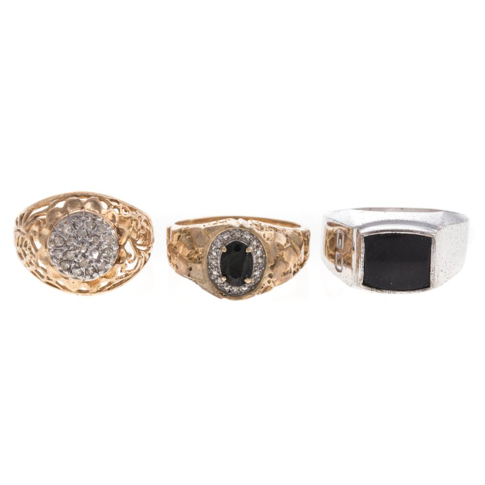 A Trio of Gentlemen's Rings with Diamonds