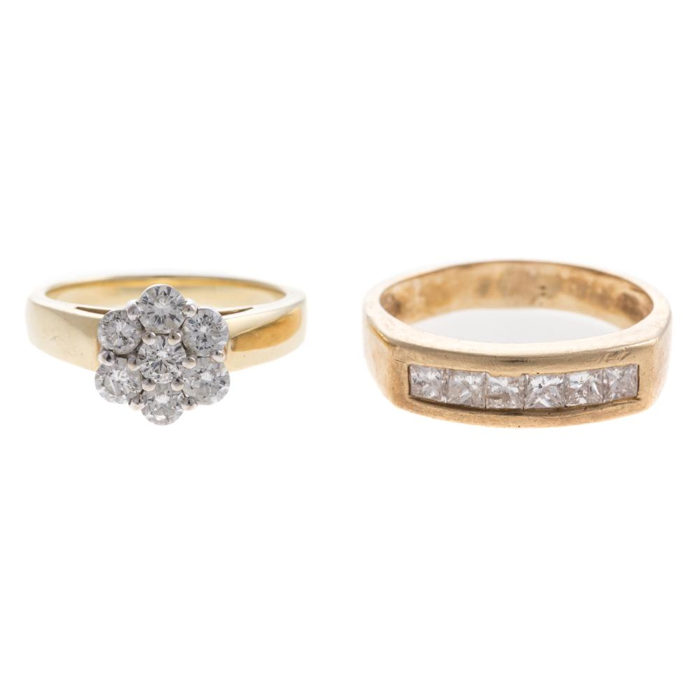 Lot 165: A Diamond Cluster Ring & Princess Cut Band in 14K