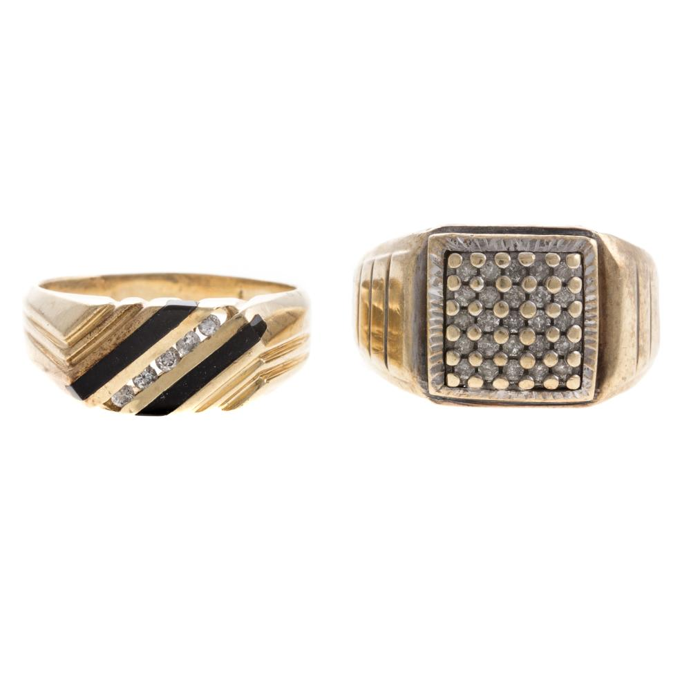 Two Gentlemen's Diamond Rings in Gold
