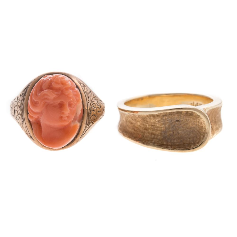 Two Ladies Vintage Rings Featuring Coral in 14K