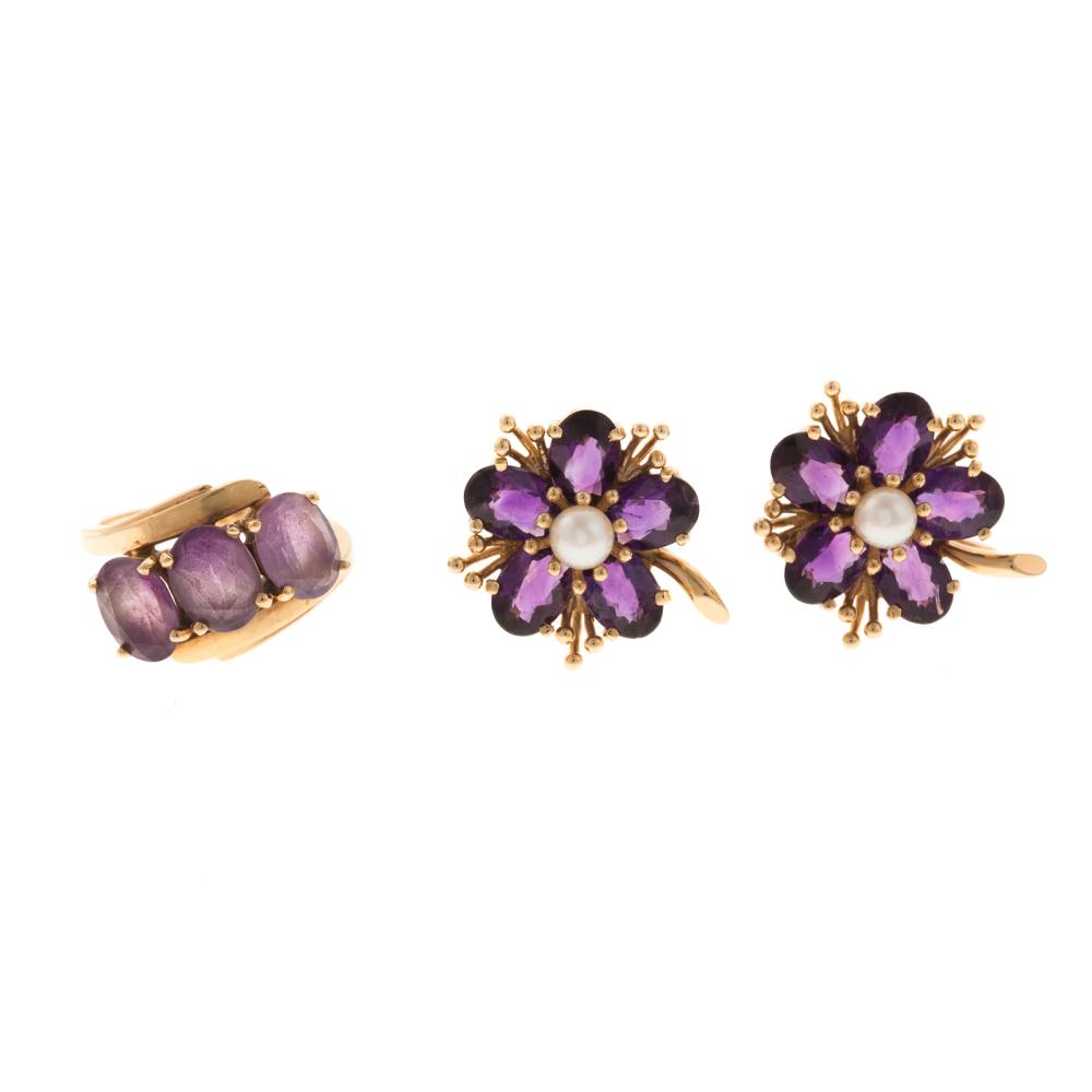 A Pair of Amethyst Earrings and Ring in Gold