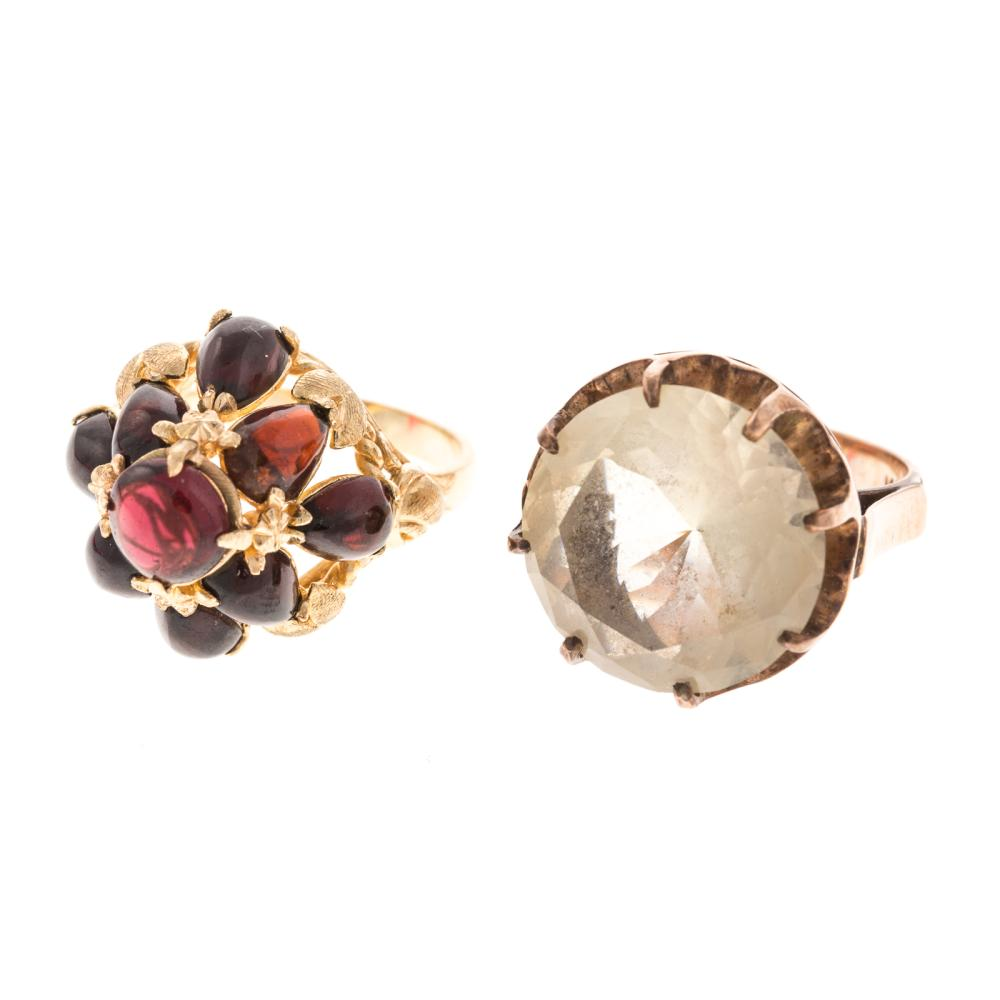 Lot 178: Two Ladies Vintage Gemstone Rings in 14K Gold
