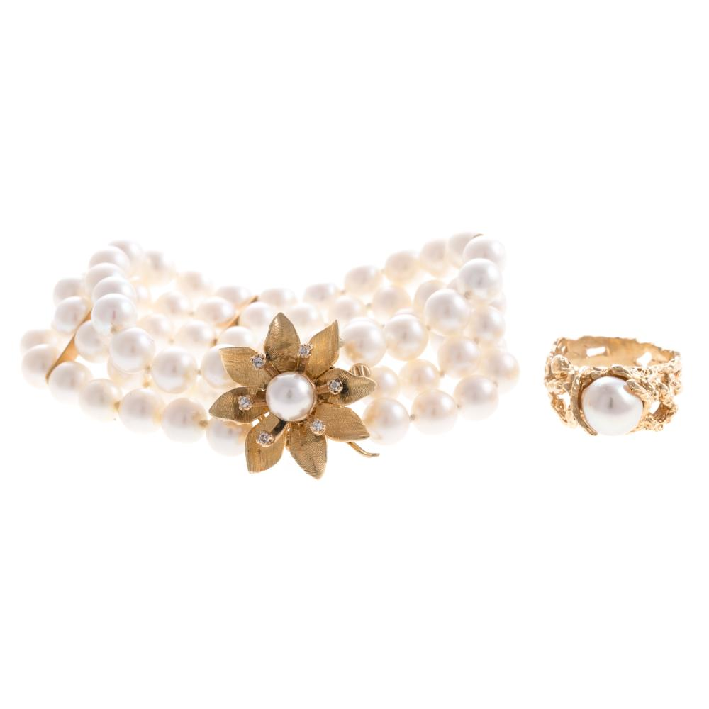 A Triple Strand Pearl Bracelet & Ring in 14K