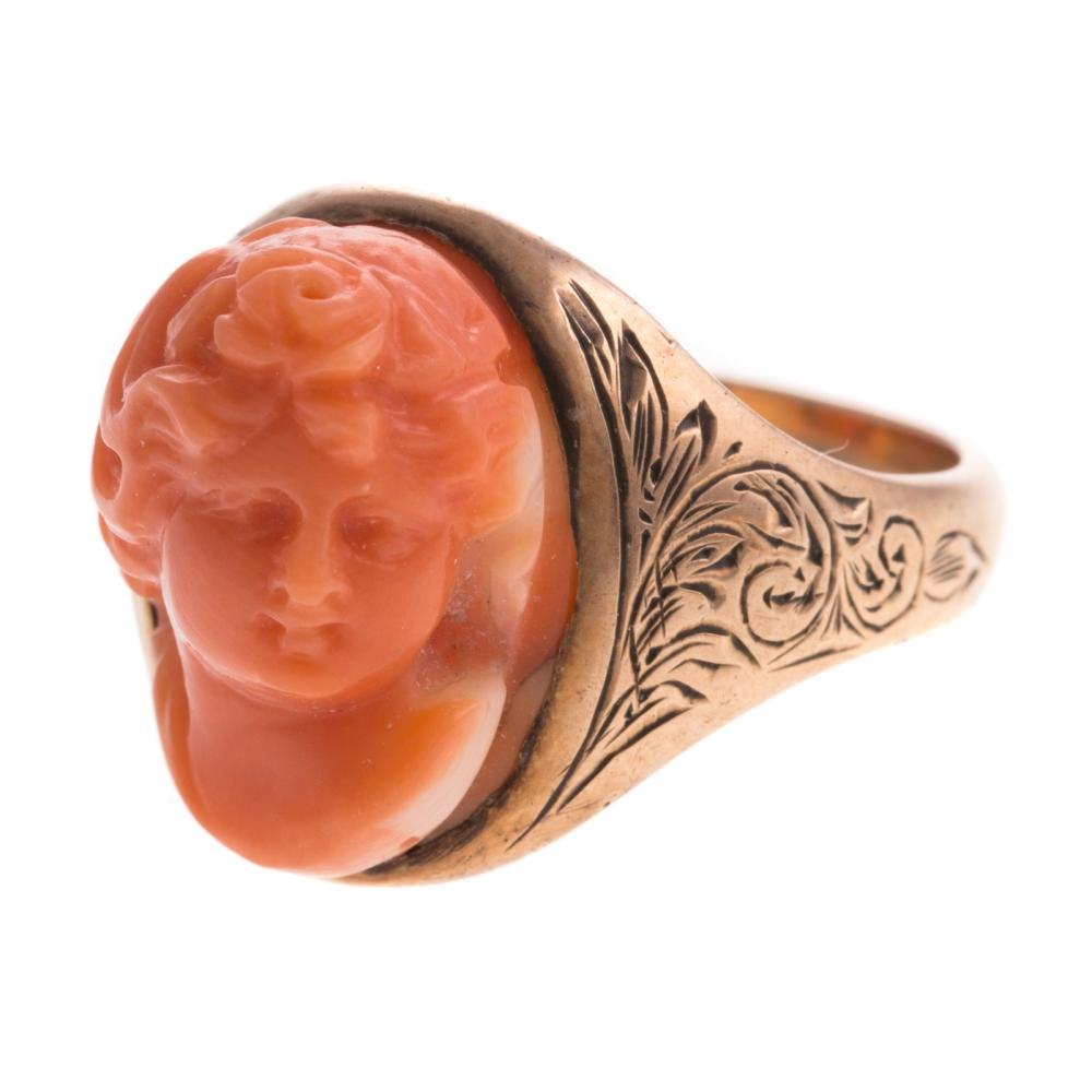 Lot 177: Two Ladies Vintage Rings Featuring Coral in 14K