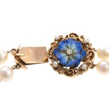 Lot 181: A Ladies Cultured Pearl Necklace and Ring in 14K