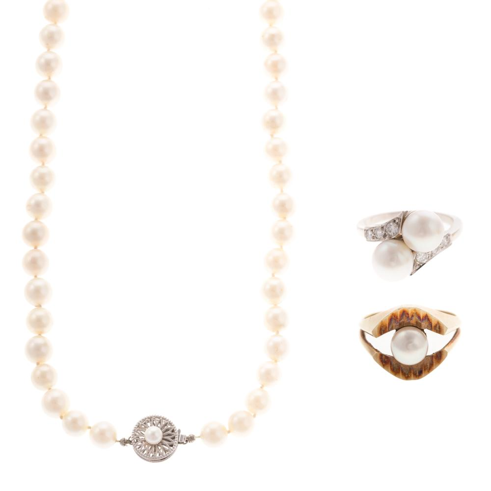 Two Cultured Pearl Rings & Necklace with 14K