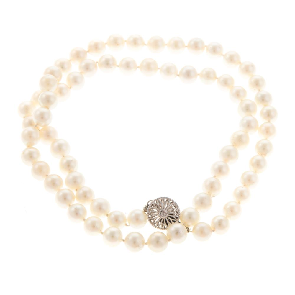 Lot 182: Two Cultured Pearl Rings & Necklace with 14K