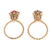 Lot 183: Two Ladies Gemstone Rings in 14K Gold