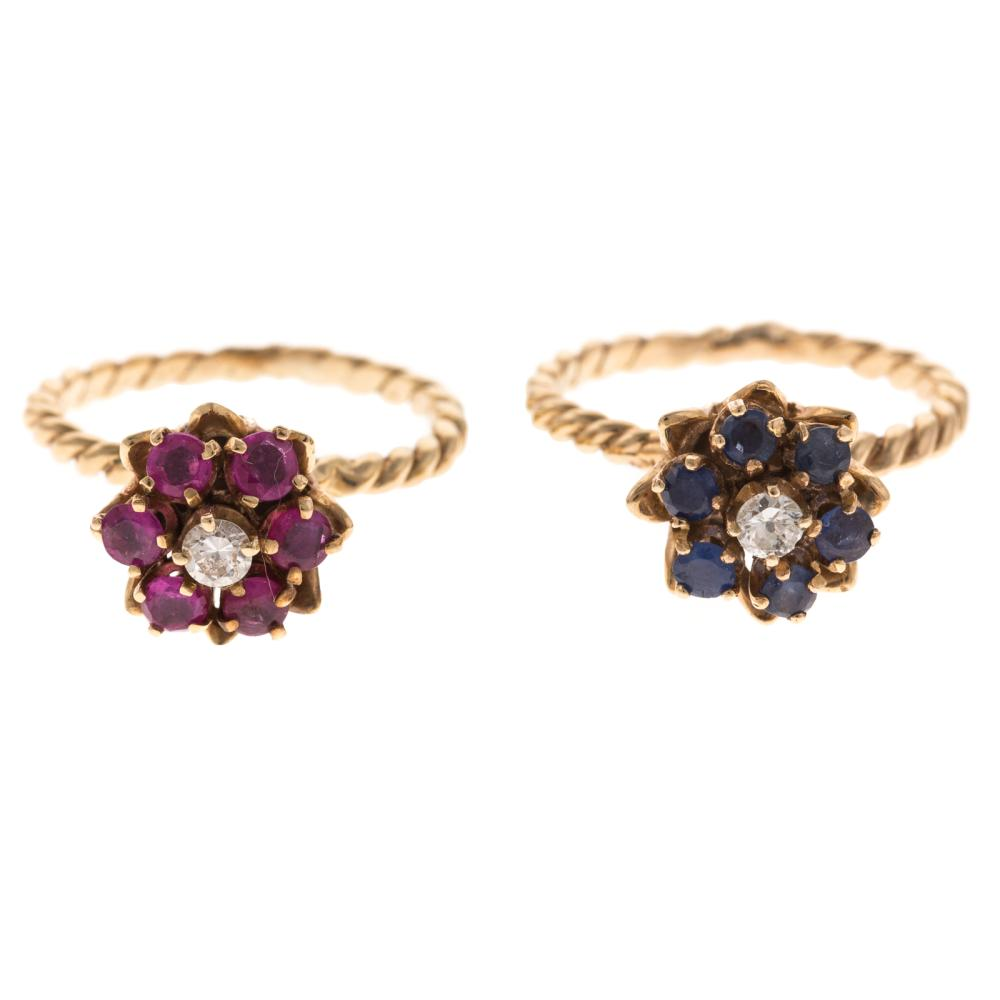 Two Ladies Gemstone Rings in 14K Gold