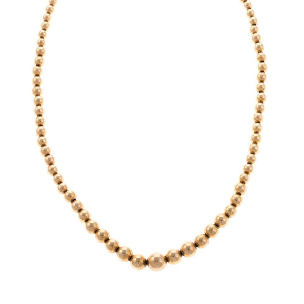 A Ladies 14K Yellow Gold Graduated Beaded Necklace