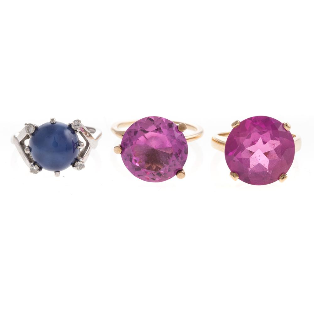 A Trio of Ladies Synthetic Gemstone Rings in 14K