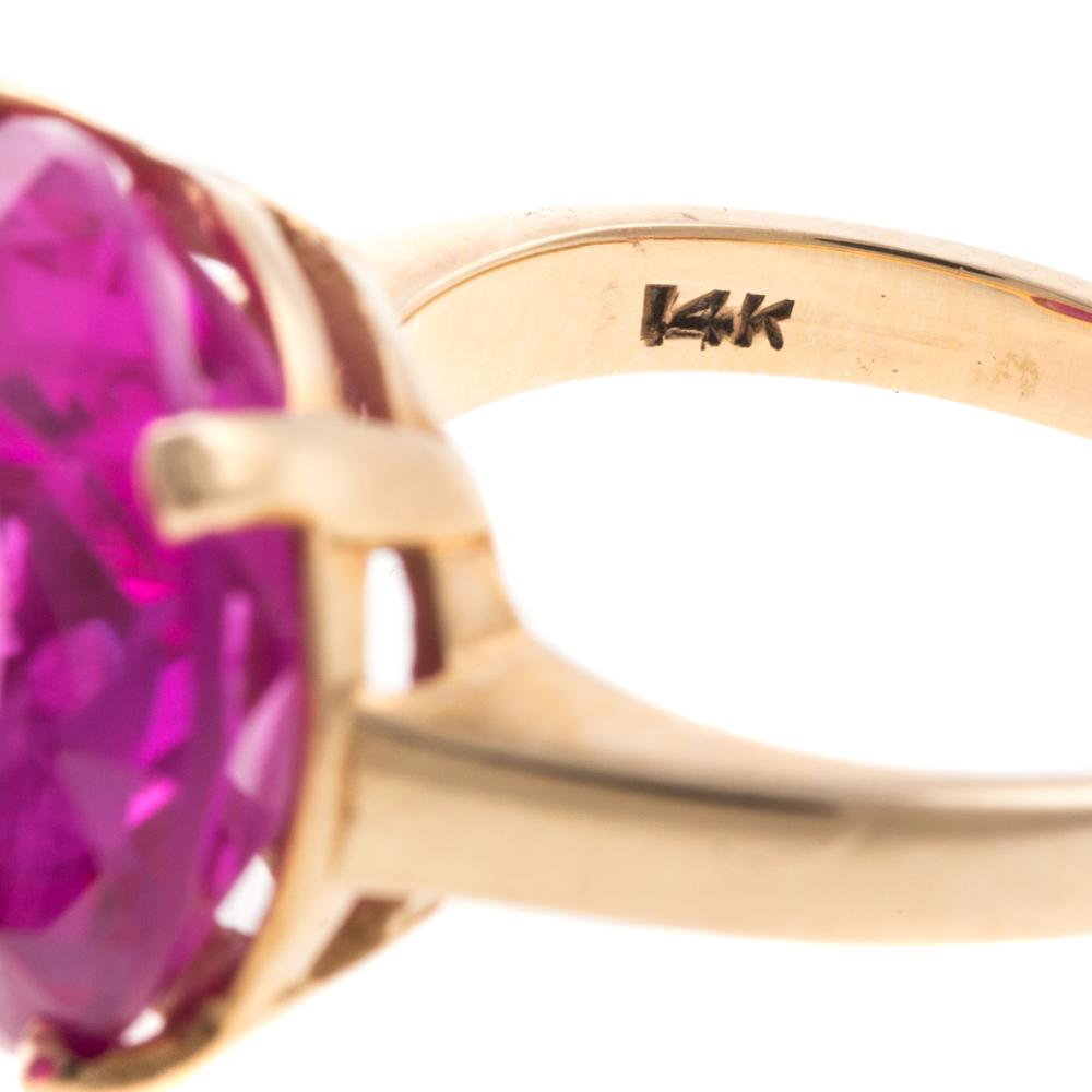 Lot 190: A Trio of Ladies Synthetic Gemstone Rings in 14K