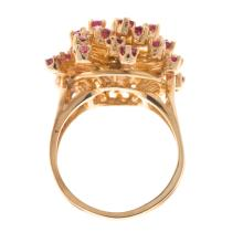 Lot 191: A Ladies Ruby and Diamond Ring in 14K Gold